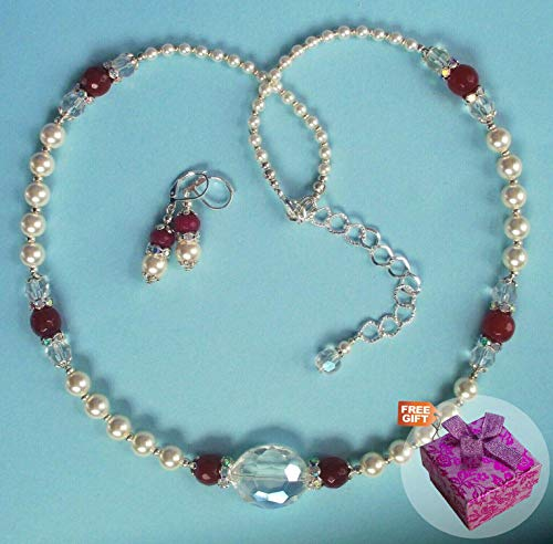 - White Glass Pearl Red Jade Crystal Rhinestone Jewelry Necklace with Earrings For Women Set Sp Handcrafted + Cute Gift Box for Free