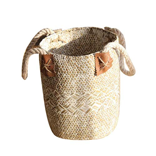 (Best Quality - Storage Baskets - Foldable Natural Woven Seagrass Belly Storage Basket Flower Pot Folding Basket Weaving Dirty Garment Basket Fruit Basket Decor - by SeedWorld - 1 PCs)