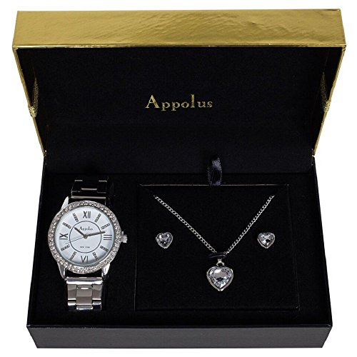 Watch Gift Set Silver Tone by Appolus- Christmas Gifts For Women Girlfriend Wife Mom Birthday Graduation Anniversary - Gift Mom Christmas For