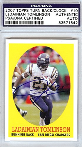 LaDainian Tomlinson Autographed 2007 Topps Turn Back The Clock Card #10 San Diego Chargers PSA/DNA Stock -