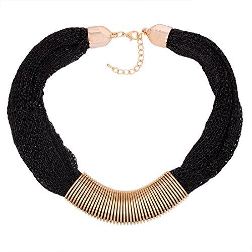 QIYUN.Z Fashion Mesh Web Link Chains Bold Chunky Tibet Bib Choker Necklace