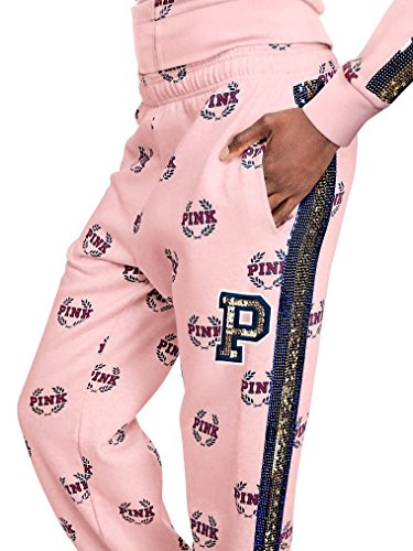Vs pink Victoria's Secret Pink New Logo Bling Limited Edition Campus Slouchy Pant Candy Large NWT by Vs pink