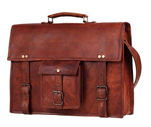 15 Mens Genuine Leather laptop messenger bag Satchel shoulder bag distressed crossbody bag briefcase