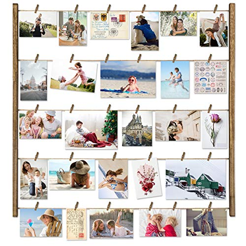 Love-KANKEI Wood Picture Photo Frame for Wall Decor 26×29 inch with 30 Clips and Adjustable Twines Collage Artworks…