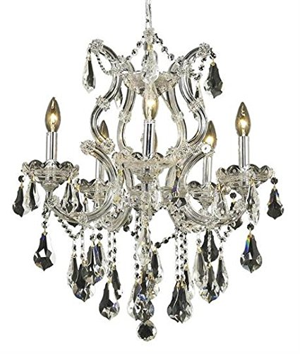 Karla Chrome Traditional 6-Light Hanging Chandelier Heirloom Handcut Crystal in Crystal (Clear)-2381D20C-RC--14