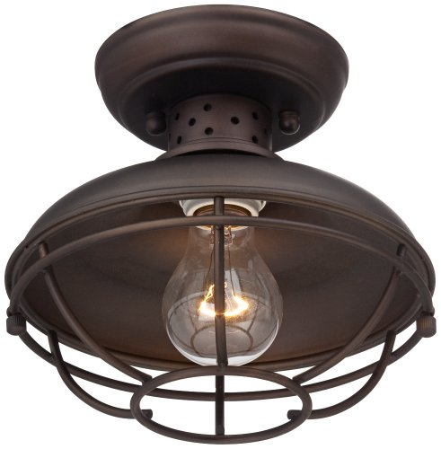 "Caged Ceiling Fan With Light Fans Standard Size Rustic W: Franklin Park 8 1/2"" Wide Bronze Caged Outdoor Ceiling"