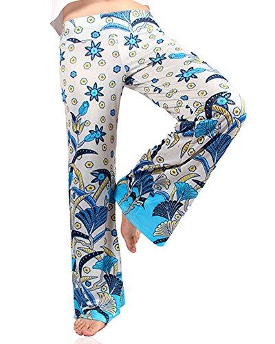 Mujeres Verano Impreso Palazzo Anchos Pierna Pantalones Moda Pantalones Anchos 17