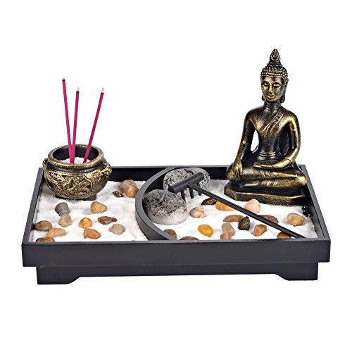 Tabletop Buddha Zen Garden, Zenlink Bronze Vintage Incense Burner, Incense Burner Tabletop, Incense Stick Holder, Buddha Zen Garden with Rock Candle Holder For Home Decor, Meditation, Relax,Seminars from Zenlink