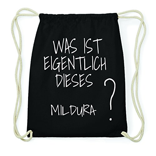 JOllify MILDURA Hipster Turnbeutel Tasche Rucksack aus Baumwolle - Farbe: schwarz Design: Was ist eigentlich