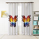 KoTing Home Fashion White Polyester Colorful Butterfly Print Window Curtains Drapes for Living Room-Plain Top,1 Panel,42 by 96-Inch