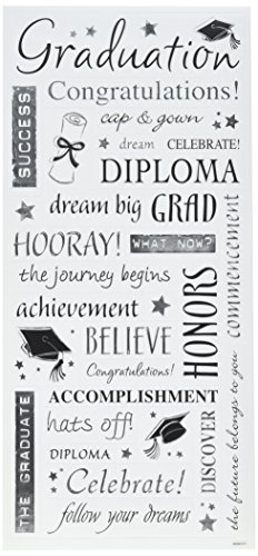 12 Scrapbooking Stickers - Sandylion Grad. Words with Silver Sticker, 5.5 by 12-Inch, Clear