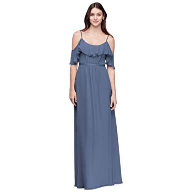 ecd0de79ef4 David s Bridal Cold-Shoulder Crinkle Chiffon Bridesmaid Dress Style F19508