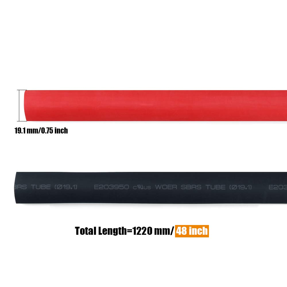 Amazon.com: URBEST Heat Shrink Tubing 3/4'' Heat Shrink Tube 3:1  Adhesive-Lined Heat Shrinkable Tubing Black and Red, 2 Pack, 1.22m/4ft:  Home Audio & ...