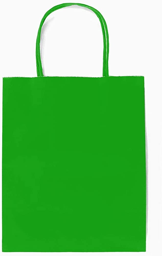 12CT Medium Green Biodegradable, Food Safe Ink & Paper, Premium Quality Paper (Sturdy & Thicker), Kraft Bag with Colored Sturdy Handle