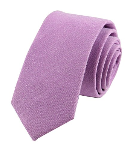 Men Skinny Brilliant Lilac Purple Ties Cotton Timeless Best Neckties for Groom