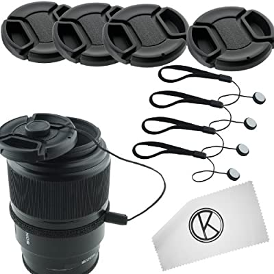 Lens Cap Bundle - 4 Snap-on Lens Caps for DSLR Cameras including Nikon, Canon, Sony - 4 Lens Cap Keepers / 1 CamKix Microfiber Cleaning Cloth included