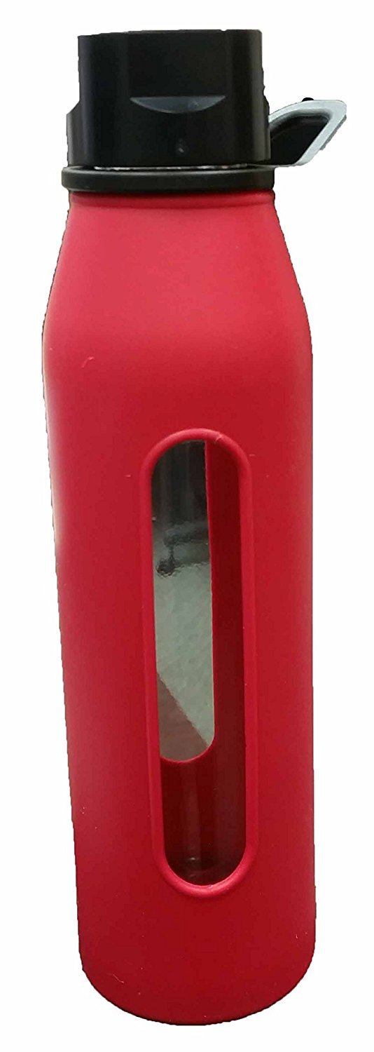 Black AX-AY-ABHI-108618 Takeya Classic Glass Water Bottle with Silicone Sleeve Red 22-Ounce