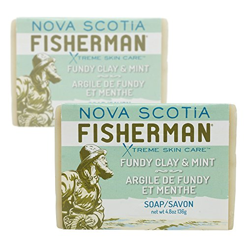 Nova Scotia Fisherman Fundy Clay and Mint Soap with Shea Butter, Olive Oil, Coconut Oil, Castor Oil, Nova Scotia Kelp, Peppermint Leaves and Kaolin Clay, 4.8 ounces,(Pack of 2) -