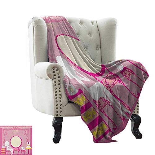 BelleAckerman White Throw Blanket Girls,Lady Sitting in Front of French Cosmetic Make-Up Mirror Furniture Dressy Design, Pink Yellow Warm Blanket for Autumn Winter 30