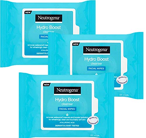 Neutrogena Hydro Boost Cleanser Facial Wipes, 25 Count (Pack of 3)