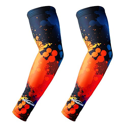 (COOLOMG Arm Sleeves Cover Sports Men Women Anti Slip Anti UV Cycling Basketball Multicolor Ink 1 Pair Large)