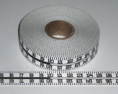 (Adhesive Continuous Ruler Roll Tape – Metric – 3/4 Inch Wide, 1 Meter Long X 32 Repeats – Dual Directional – White)