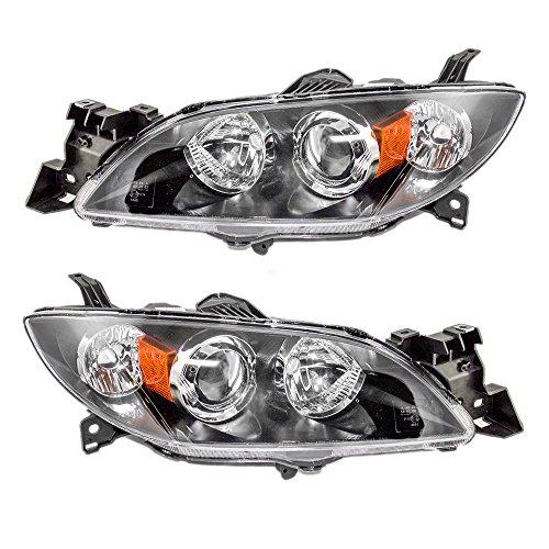 Halogen Headlights Headlamps Driver and Passenger Replacements for 04-09 Mazda 3 Mazda3 Sedan BN8P510L0D BN8P510K0D
