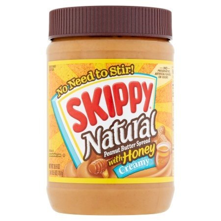 Skippy Creamy Natural Peanut Butter Spread with Honey, 26.5 oz