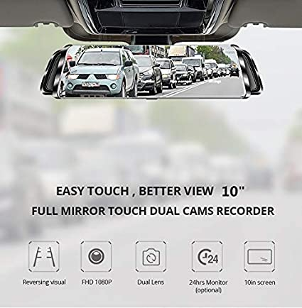 Streaming Media Rear View Mirror Dash cam,TekBow Backup Camera 10 Touch Screen 1080P Rearview Front and Rear Dual Lens with Waterproof Reversing Camera 4350447019