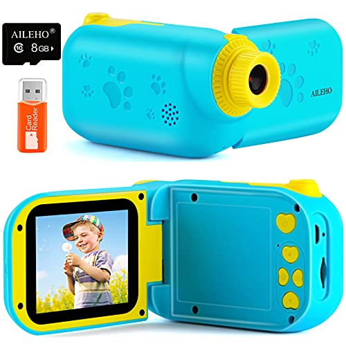 AILEHO Kids Video Camera for Boys Digital Video Camcorder for Kids Birthday Children Toys 3 4 5 6 7 8 9 Years Old Toddler Camera 8M 1080P with 8G Card Kids Cameras Rechargeable IPS 2.4