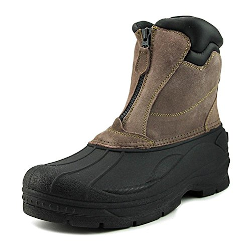Suede Zip (Khombu Paul Men Round Toe Suede Snow Boot Taupe | Front Zip Thick Rubber Sole Boot, Size - 12)