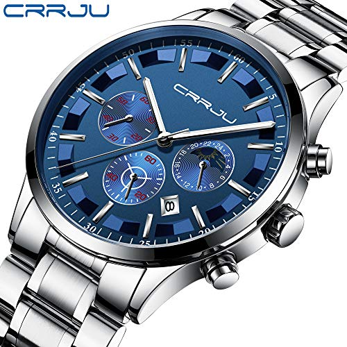 (CRRJU Men's Watches Luxury Business Casual Quartz Wristwatches Waterproof Chronograph with Stainless Steel Band)