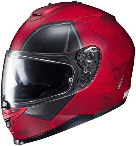 HJC Deadpool Mens IS-17 Street Motorcycle Helmet - MC1SF / Large (10 Full Face Graphic Helmet)
