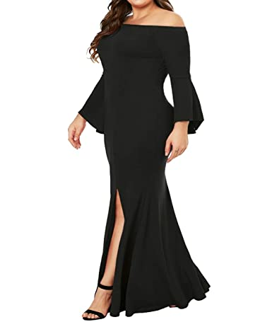 8a0692cb93c Innerger Women Plus Size Off Shoulder Bodycon Party Dress Evening Formal  Gown at Amazon Women's Clothing store: