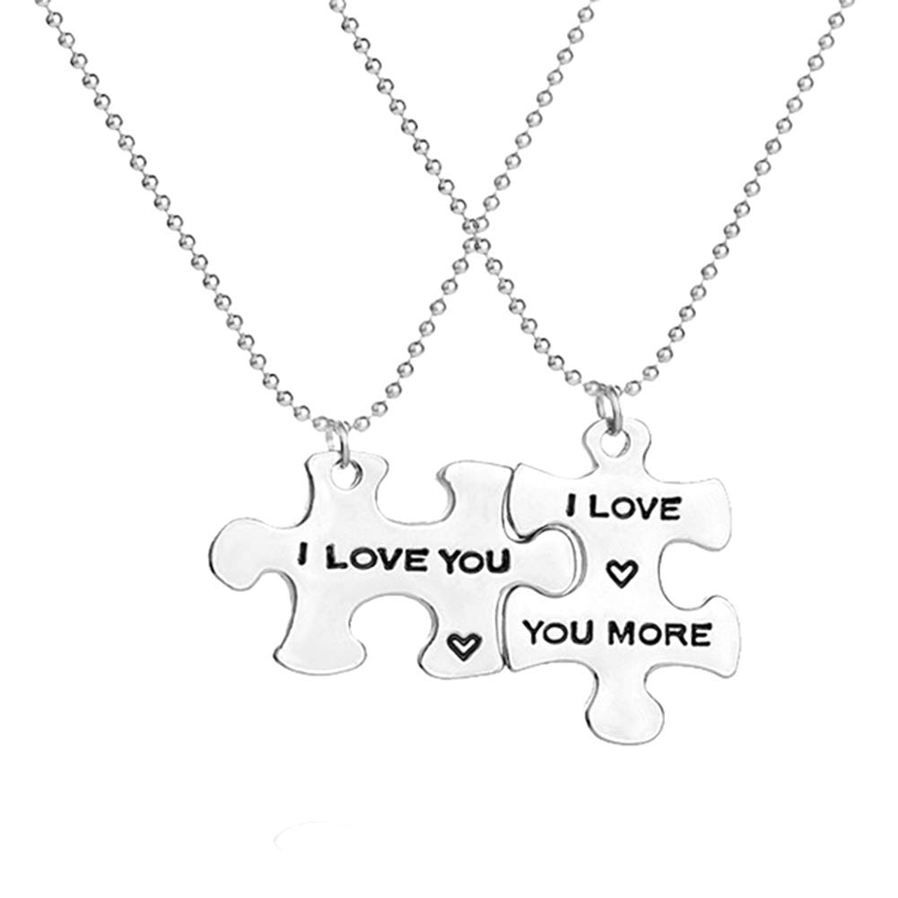ywbtuechars 2Pcs Chic Letters Print Puzzle Tag Pendant Jewelry Couple Lover Party Necklace - Silver