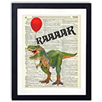T-Rex With Balloon Upcycled Vintage Dictionary Art Print 8x10
