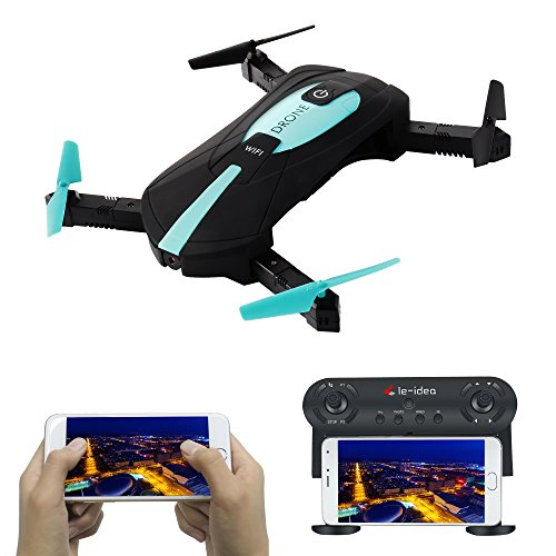 IDEA6 RC Drones Quadcopters with Camera Wifi 720P HD FPV for Selfie Live Video,4CH 2.4Ghz 6 Axis LED RTF,Altitude Hold,Headless Mode,3D Flip,One key to return,Track Flying,Gravity Sensor,Bonus Battery