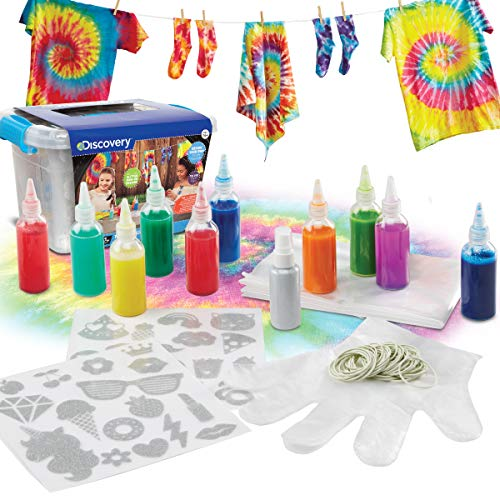 (Discovery Kids 10-Colors Tie Dye Ultimate DIY Kit for Parties and Groups, Easy One-Step Dye for Shirts and Fabrics, Includes Rubber Bands, Gloves, 30 Iron-On Glitter Designs, Glitter Spray)