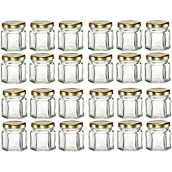 GYBest LJP 24 Pack 1.5 Ounce Hexagon Glass Jars with Gold Plastisol Lined Lids for Jam, Honey, Wedding Favors, Shower Favors, Baby Foods, DIY Magnetic Spice Jars