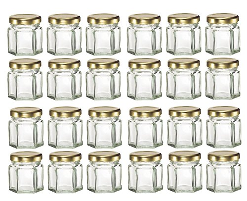 GYBest LJP 24 Pack 1.5 Ounce Hexagon Glass Jars with Gold Plastisol Lined Lids for Jam, Honey, Wedding Favors, Shower Favors, Baby Foods, DIY Magnetic Spice Jars ()