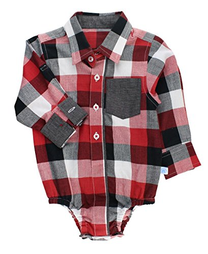 dler Boys Red, White and Black Plaid Button-Up Bodysuit - 0-3m ()
