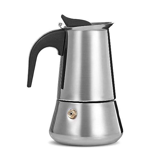 Cafetera 9 tazas de acero inoxidable con válvula de alivio de ...