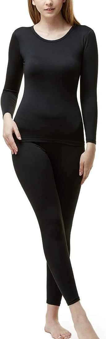 TSLA Blank Women's Thermal Microfiber Soft Fleece Long Johns Top & Bottom Set, Thermal Set(whs200) - Black, X-Small
