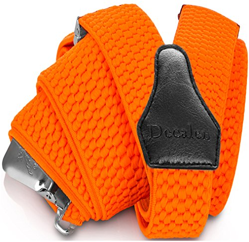 (Decalen Mens Suspenders with Very Strong Clips Heavy Duty One Size Fits All Big and Tall Wide Adjustable and Elastic Braces Y Back Shape (Orange)