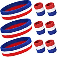 PAMASE Striped Sweatbands Set, Including Sports Headbands and Wristbands Cotton Sweat Band American Flag Style