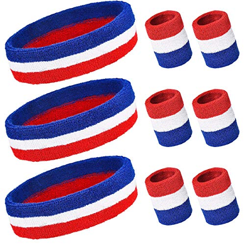 (PAMASE 3 Sets Striped Sweatbands Set, Including 3 pcs Sports Headbands and 6 pcs Wristbands Cotton Sweat Band American Flag Style for Tennis Athletic Men Women)