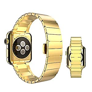 BALIYIN Beatuiful Butterfly Buckle Band for Apple Watch, Stainless Steel Apple Watch Band, Butterfly Buckle Stainless Steel Watch Band for Bussiness, Chamber of Commerce, Symposium (Gold, 42MM)