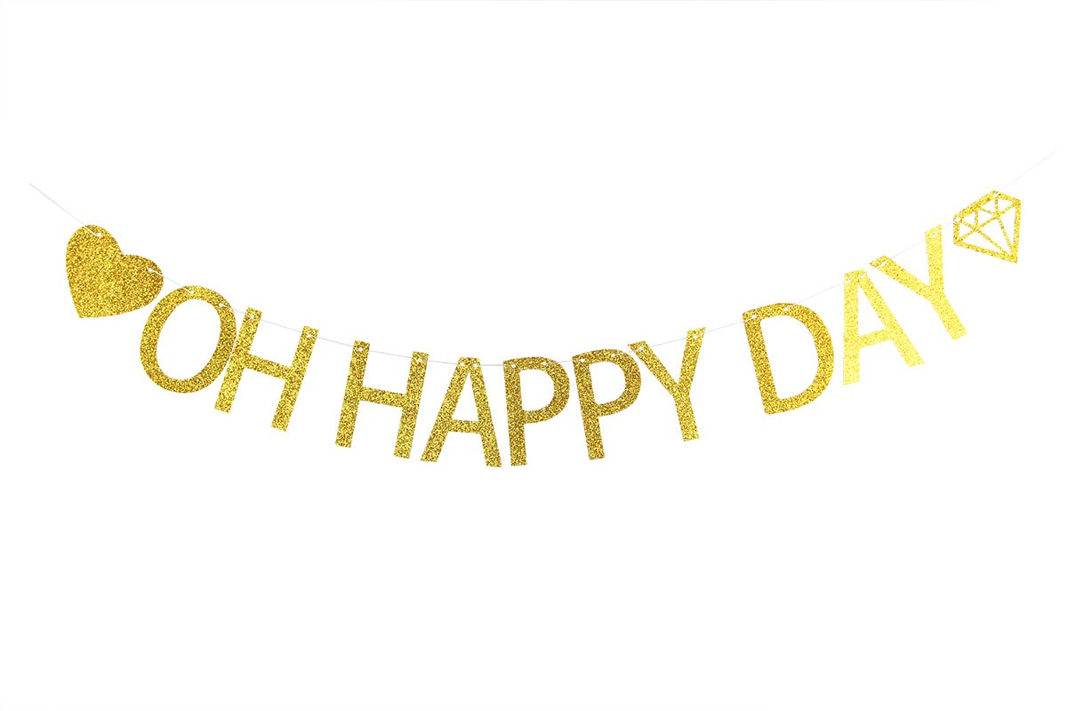 Lovely BITON Gold Oh Happy Day Letters Banner Decoration Kit Themed Party Banner for Birthday Wedding Showers Photo Props Window Decor