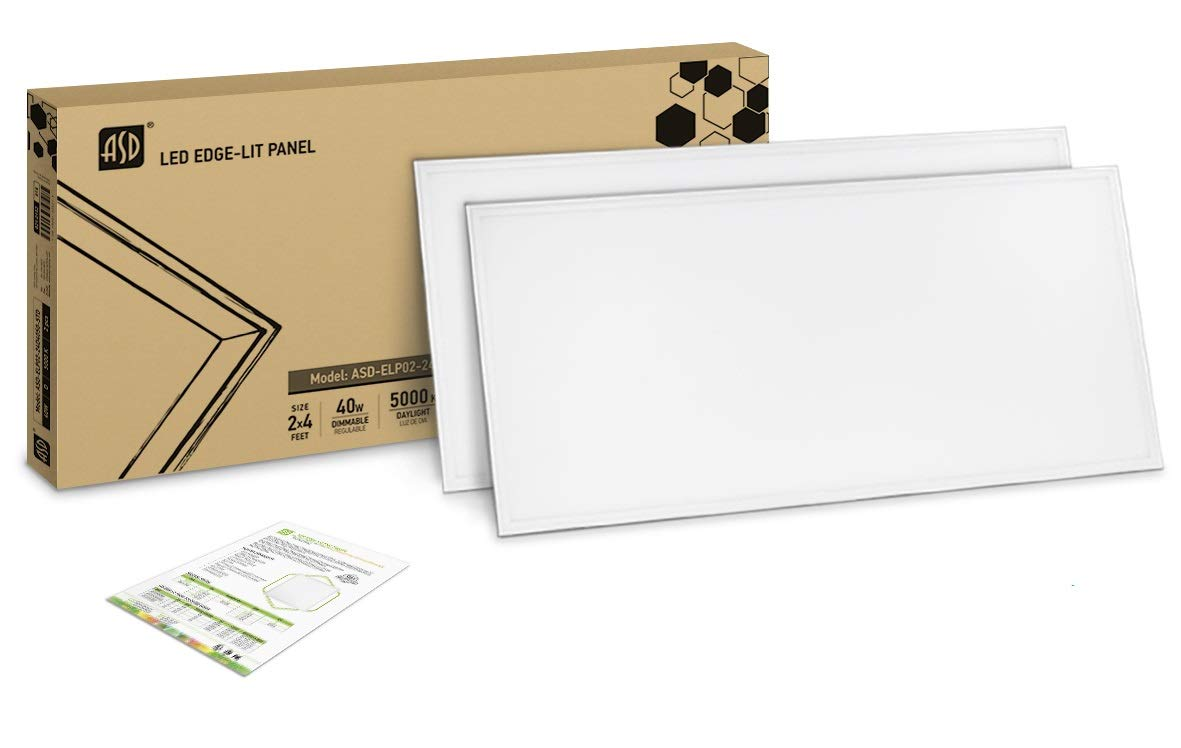2-PACK ASD LED Panel 2x4 Dimmable Edge-Lit Flat 40W 5000K (Daylight) 4677 lm, UL Listed DLC Certified by ASD (Image #1)