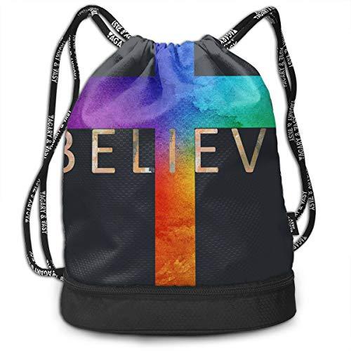 Zhangyi I Believe Cross Drawstring Backpack Sports Gym Cinch Sack Bag for Women Men Children Gymsack Sackpack -